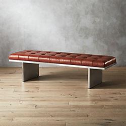 Atrium Tufted Saddle Leather Bench