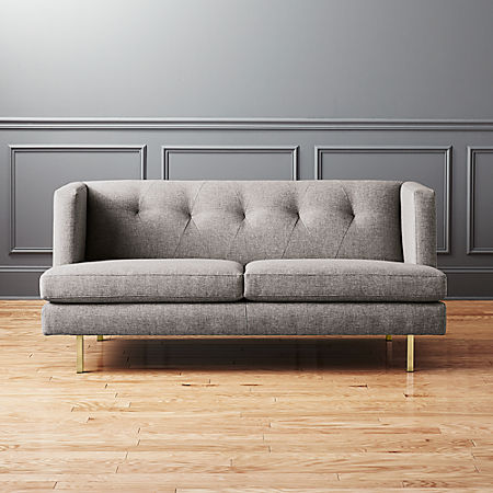 Avec Grey Apartment Sofa with Brass Legs