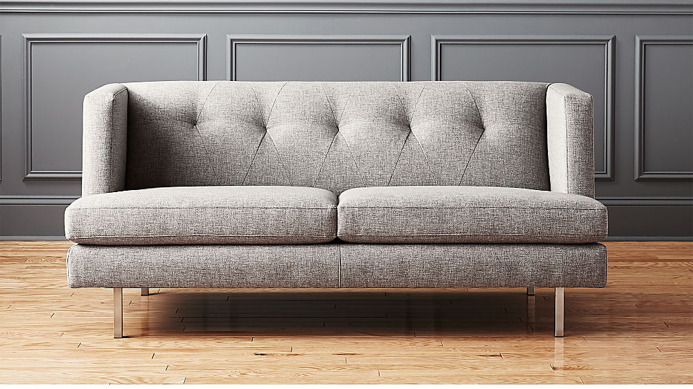 Avec Grey Apartment Sofa With Brushed Stainless Steel Legs Reviews Cb2