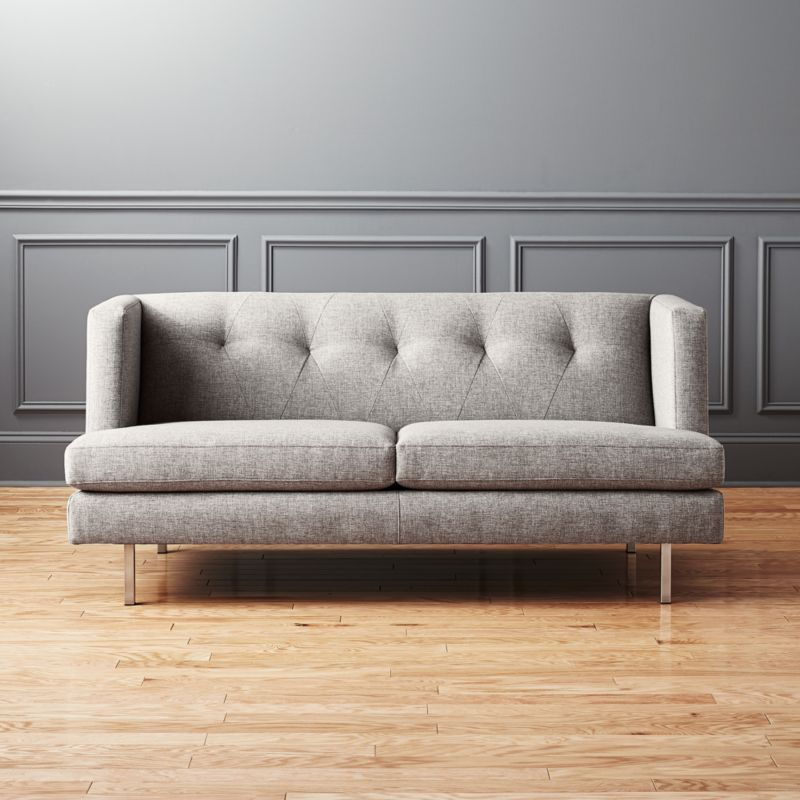 Superb Avec Grey Apartment Sofa With Brushed Stainless Steel Legs