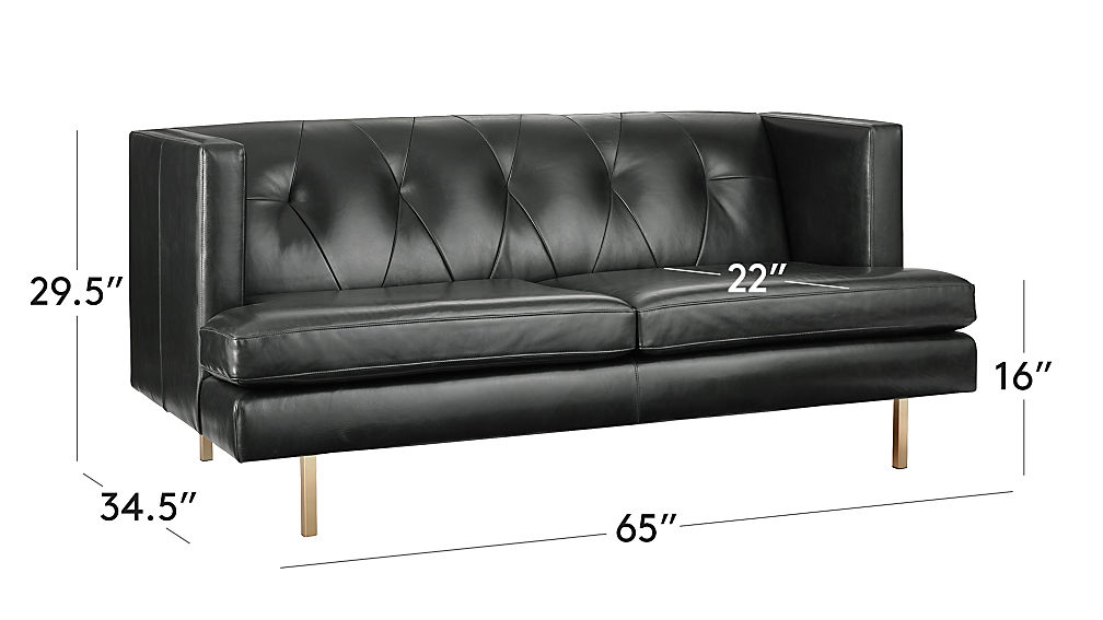 Avec Leather Apartment Sofa with Brass Legs + Reviews | CB2