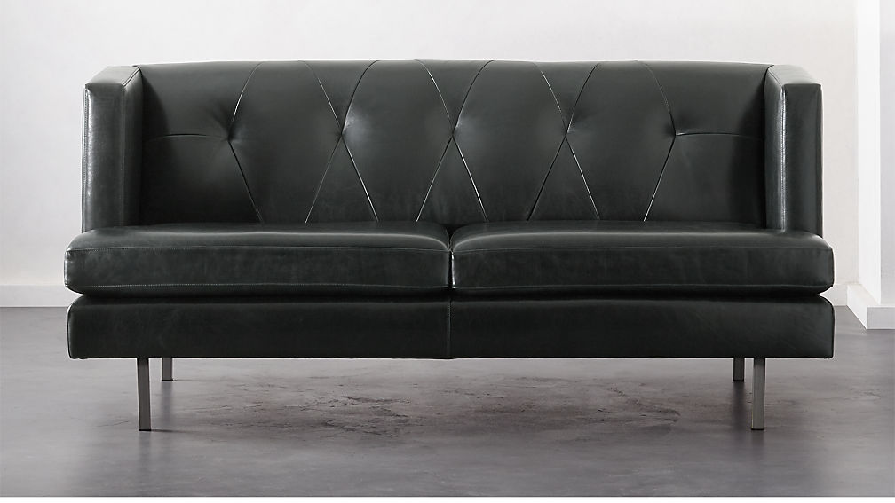Avec Leather Apartment Sofa with Brushed Stainless Steel Legs + ...