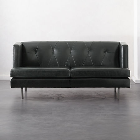 Avec Leather Apartment Sofa with Brushed Stainless Steel Legs + Reviews |  CB2