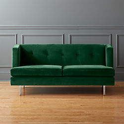 Avec Emerald Velvet Apartment Sofa With Brushed Stainless Steel Legs