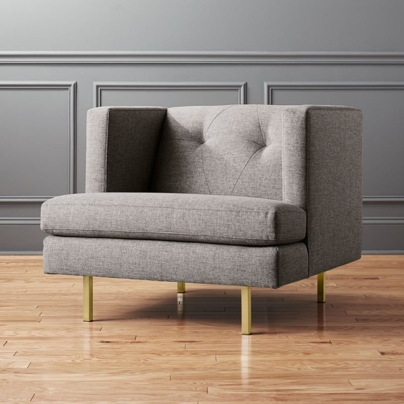 Avec Grey Chair With Brass Legs