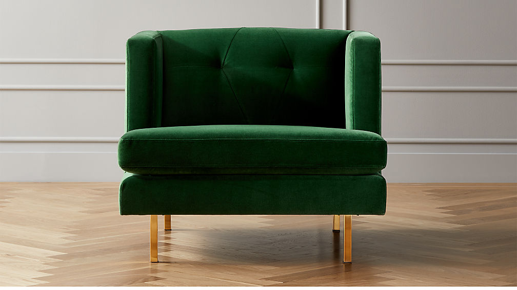 Avec Emerald Green Chair with Brass Legs - Image 1 of 6