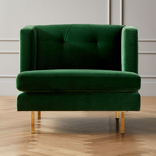 Avec Emerald Green Chair with Brass Legs