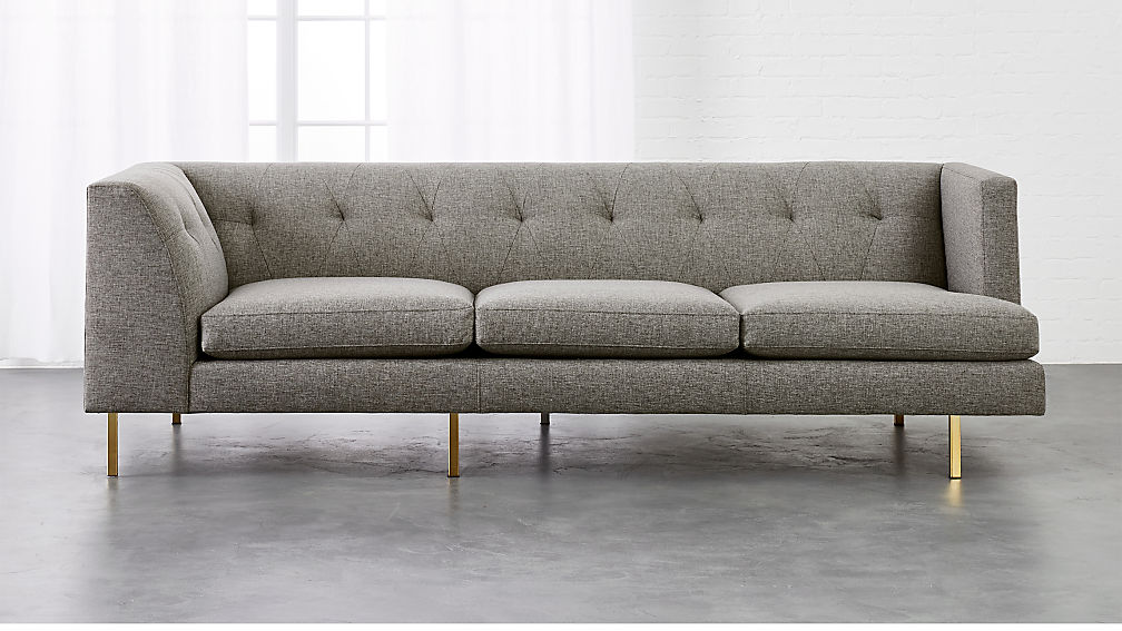Avec Grey Right Arm Corner Sofa with Brass Legs + Reviews | CB2