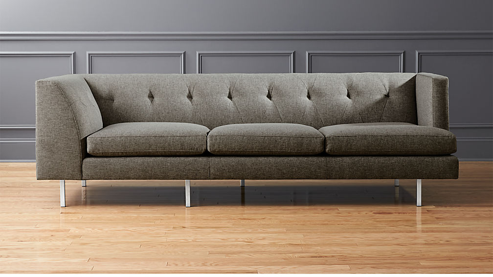 Avec Grey Right Arm Corner Sofa with Brushed Stainless Steel Legs + ...