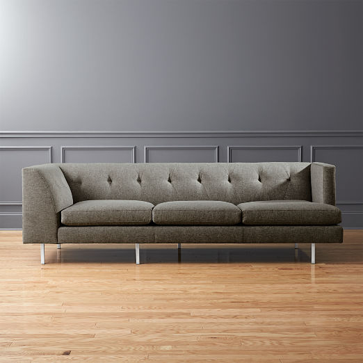 Avec Grey Right Arm Corner Sofa with Brushed Stainless Steel Legs