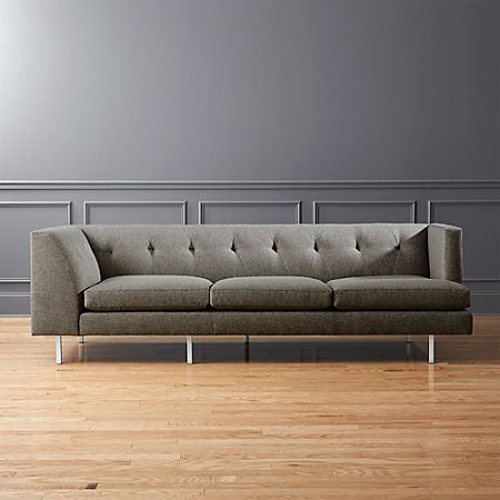 Avec Grey Right Arm Corner Sofa with Brushed Stainless Steel Legs + Reviews  | CB2