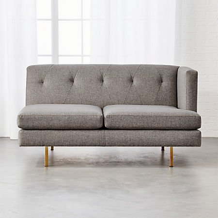 Magnificent Avec Grey Right Arm Sofa With Brass Legs Cb2 Creativecarmelina Interior Chair Design Creativecarmelinacom