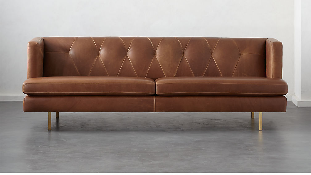 Avec Leather Sofa with Brass Legs + Reviews | CB2