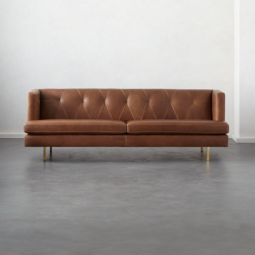 Avec Leather Sofa With Br Legs