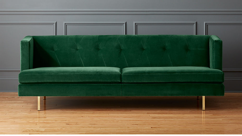 Avec Emerald Green Sofa With Brass Legs Reviews Cb2