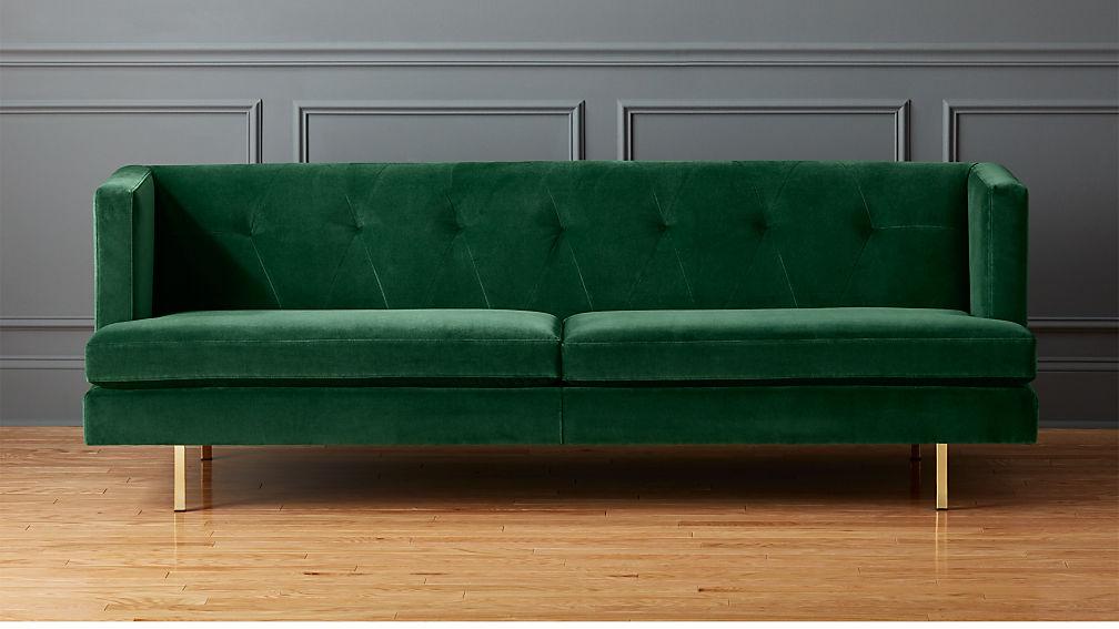 Avec Emerald Green Sofa With Brass Legs Reviews Cb2
