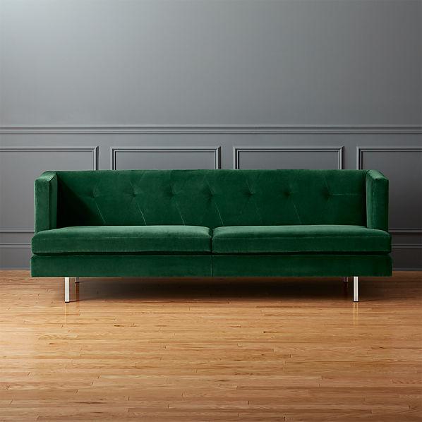 Avec Emerald Velvet Sofa With Brushed