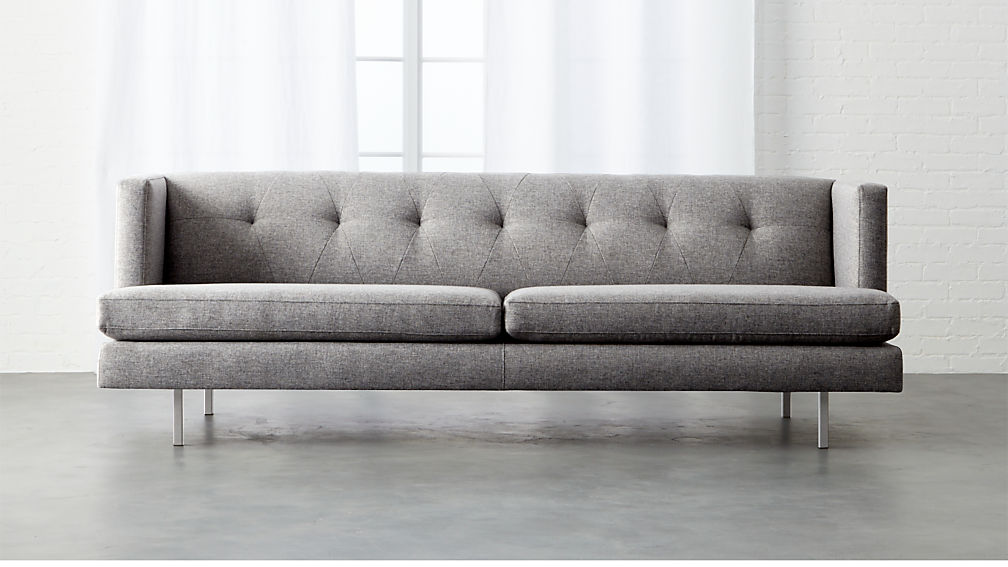 Avec Tufted Grey Sofa Reviews Cb2