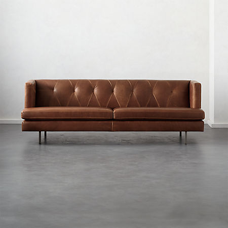 Enjoyable Avec Leather Sofa With Brushed Stainless Steel Legs Reviews Cb2 Home Interior And Landscaping Mentranervesignezvosmurscom