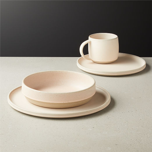 4-Piece Axel Light Pink Place Setting with Pasta Bowl