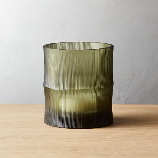 Bamboo Olive Green Tea Light Candle Holder