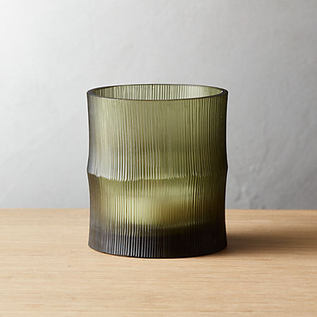 Bamboo Olive Green Tea Light Candle Holder Cb2