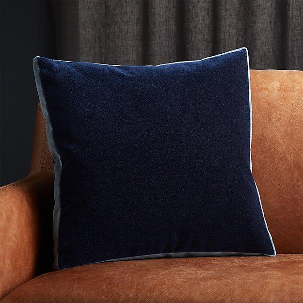 """18"""" Bardo Blue Velvet Pillow - Image 1 of 5"""