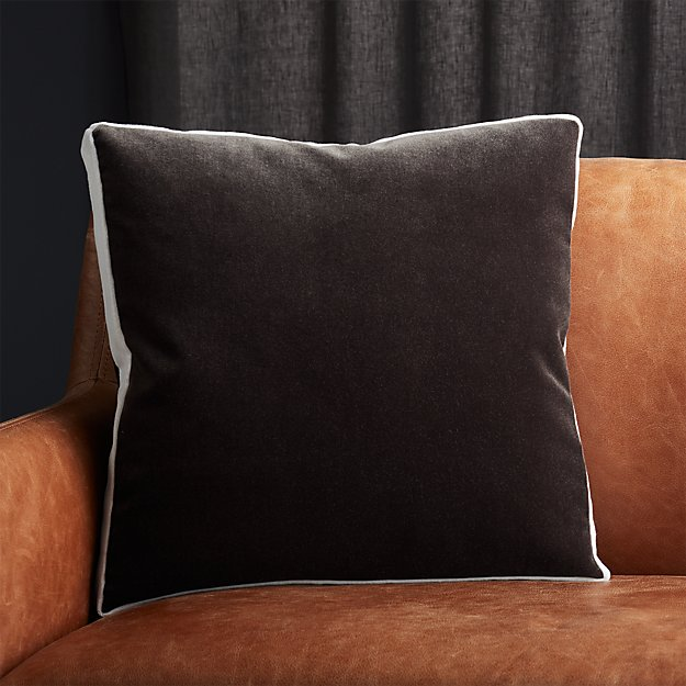 "18"" Bardo Dark Grey Velvet Pillow - Image 1 of 5"
