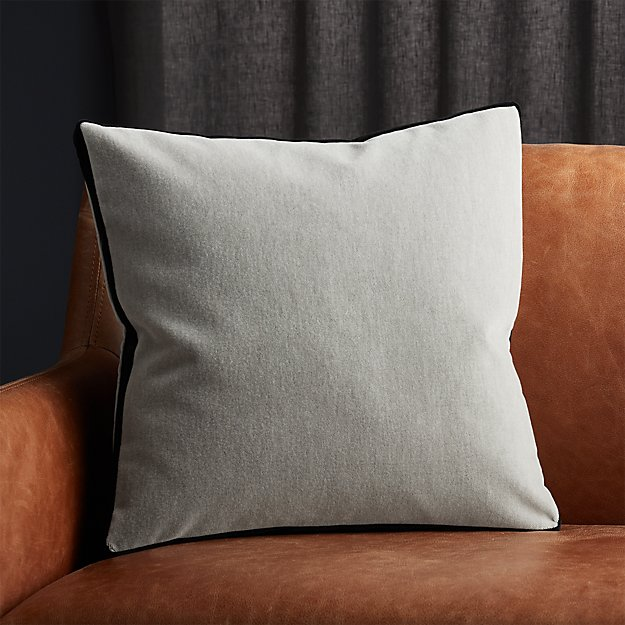 """18"""" Bardo Light Grey Velvet Pillow - Image 1 of 5"""