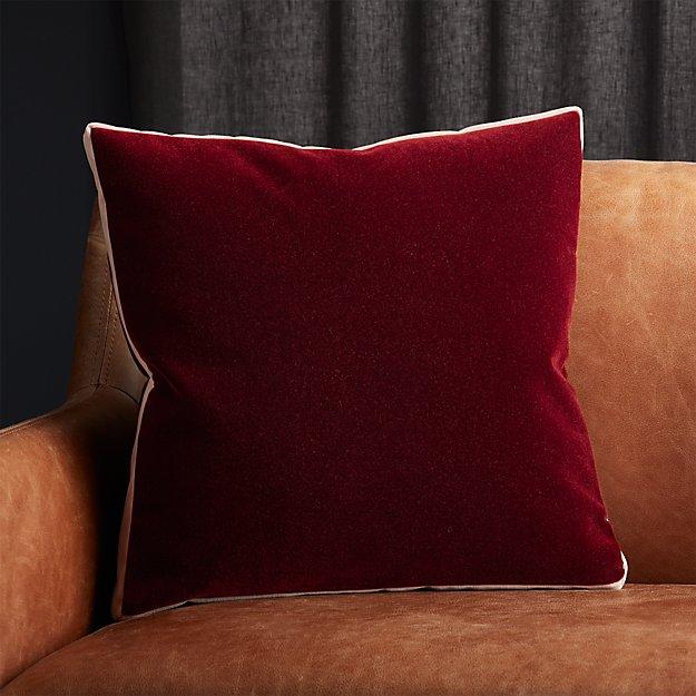 """18"""" Bardo Rust Velvet Pillow - Image 1 of 6"""