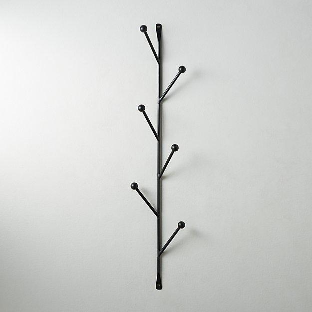 Barker Matte Black Vertical Wall Mounted Coat Rack - Image 1 of 4