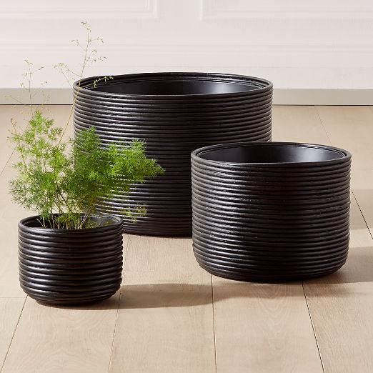 Basket Black Rattan Planters