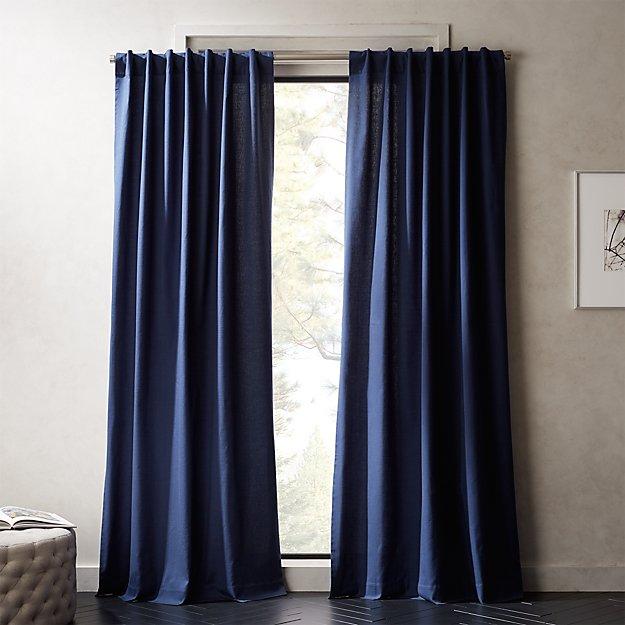 Navy Blue Basketweave II Curtain Panel - Image 1 of 6