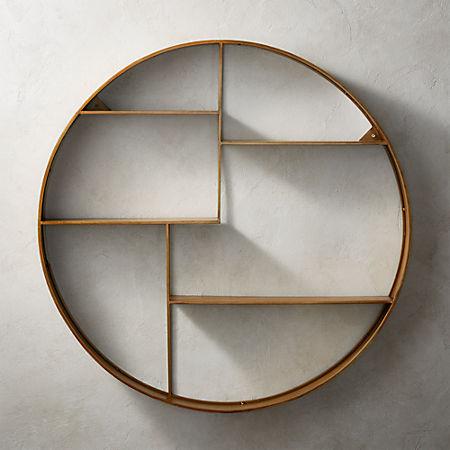 hot sale online 0e881 89dc3 Bay Antique Brass Circle Wall Shelf