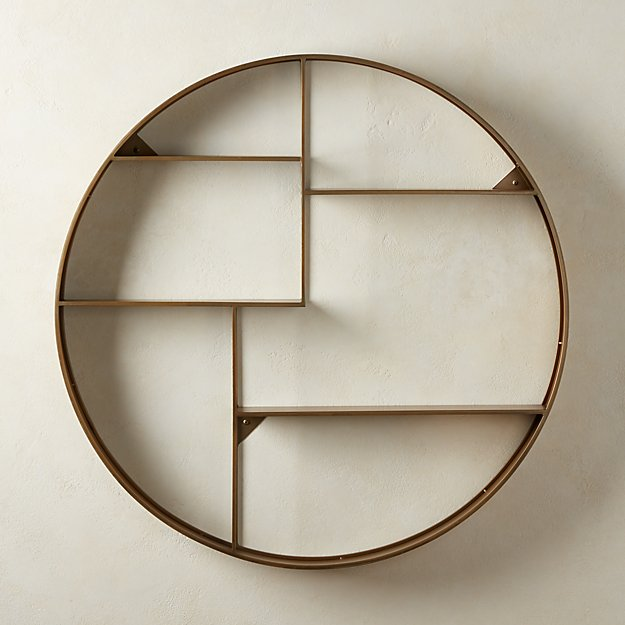 Bay Antique Brass Circle Wall Shelf - Image 1 of 6