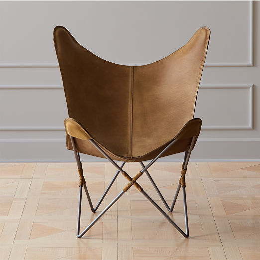 Belgrano Brown Leather Butterfly Chair