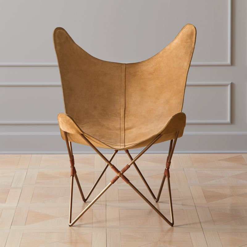 Belgrano Tan Suede Butterfly Chair