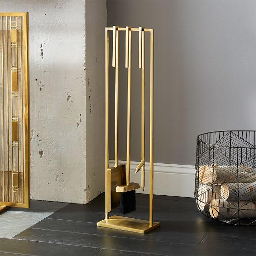 3-Piece Bend Gold Standing Fireplace Tool Set