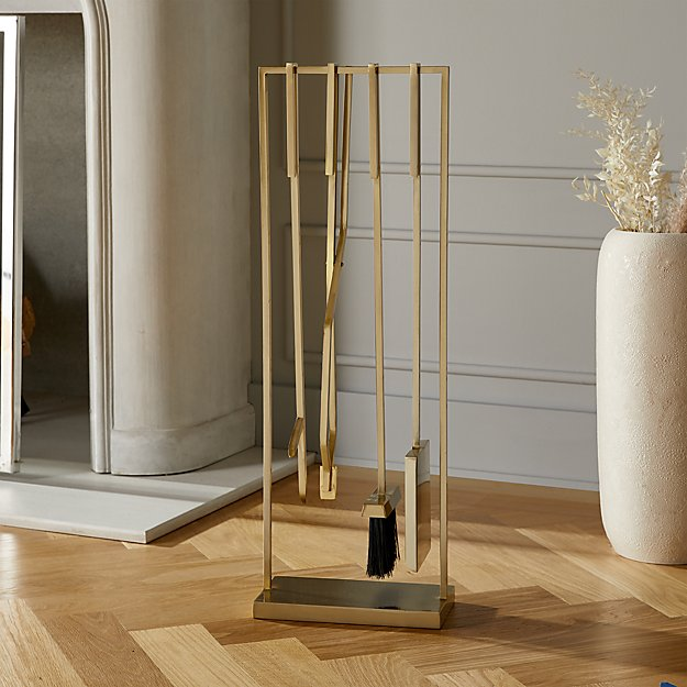 4-Piece Bend Gold Standing Fireplace Tool Set - Image 1 of 4
