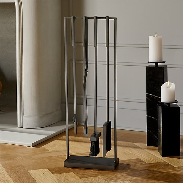 4-Piece Bend Raw Steel Standing Fireplace Tool Set - Image 1 of 4
