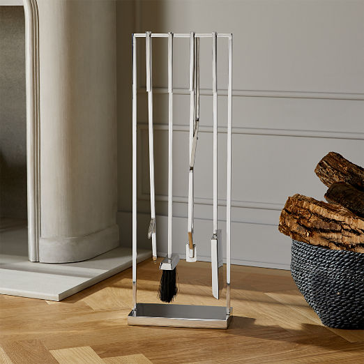 4-Piece Bend Stainless Steel Standing Fireplace Tool Set