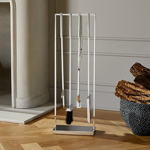 4-Piece Bend Stainless Steel Standing Fireplace Tool Set - Image 1 of 3