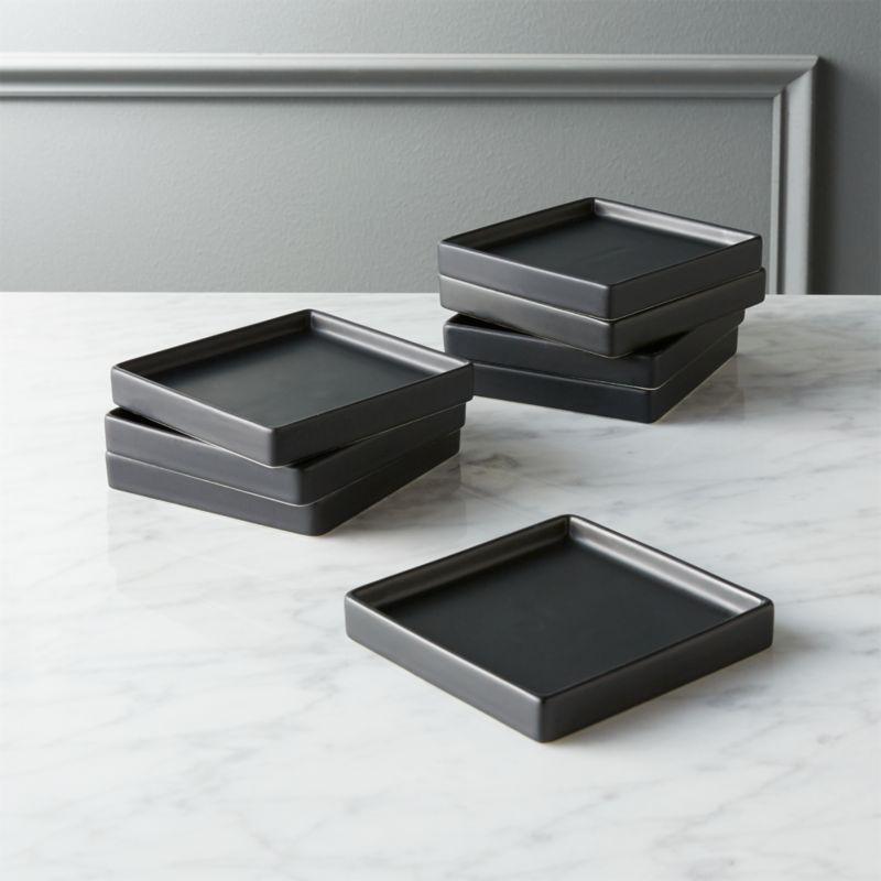 Set Of 8 Bento Matte Black Appetizer Plates Reviews Cb2