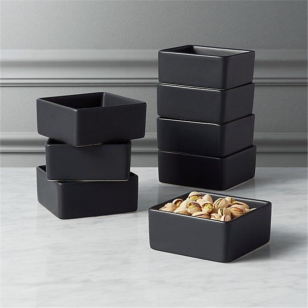 Set of 8 Bento Matte Black Mini Bowls - Image 1 of 3