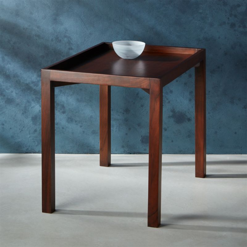 Bento Dark Wood Side Table Reviews Cb2