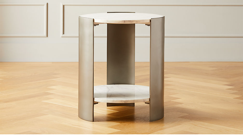 Beret Marble 2-Tier Side Table - Image 1 of 4
