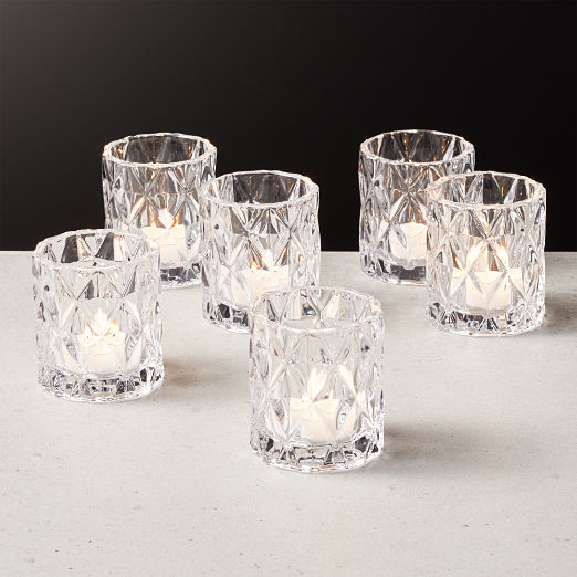 Betty Clear Tea Light Candle Holder Set of 6