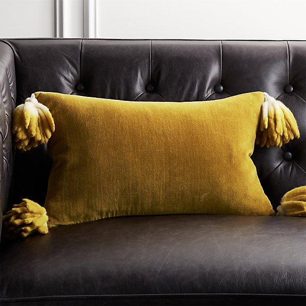 """18""""x12"""" Bia Tassel Pesto Velvet Pillow - Image 1 of 7"""