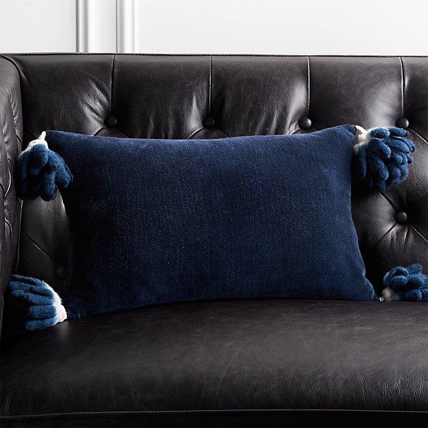 18x12 Bia Tassel Navy Blue Velvet Pillow Cb2