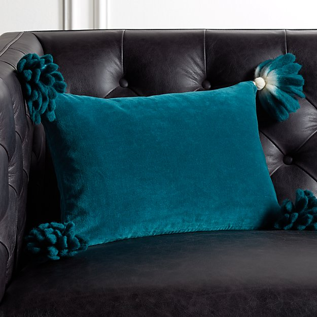 """18x12"""" Bia Tassel Spruce Pillow - Image 1 of 4"""